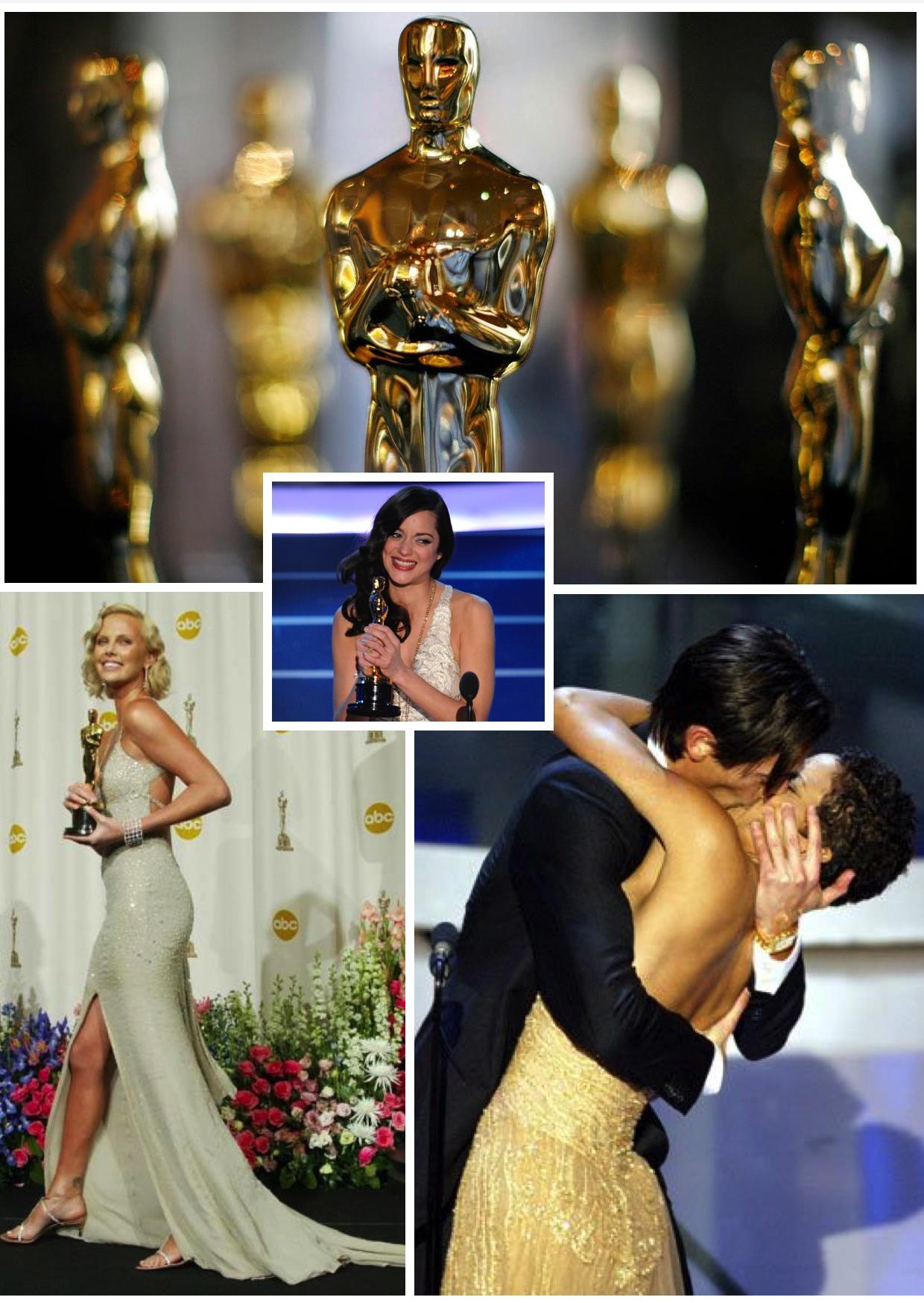 """Til venstre: Charlize Theron da hun vant en Oscar for filmen """"Monster"""", på midten Marion Cotillard da hun vant for sin uforglemmelige prestasjon som Edith Piaf i """"La Môme"""", til høyre: Adrien Brody ble så glad da han vant Oscar for sin rolle i """"Pianisten"""" (en av de fineste filmene jeg vet!) at han kastet seg spontant over fjorårets vinner, Halle Berry, og kysset henne :-)"""